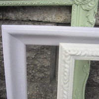 Picture frames wedding decor Lot of 3 Upcycled Shabby Chic Mint green lavender