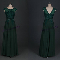 2014 forest green chiffon bridesmaid dresses with lace,chic floor length gowns for prom party,latest cheap long bridesmand dress under 150.