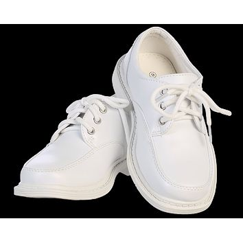 White Matte Finish Oxford Lace Tie Dress Shoes (Boys 5 toddler - 6 youth)
