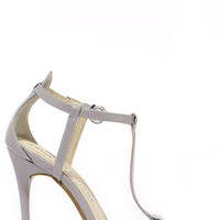 Chinese Laundry Leo Grey Patent T Strap Dress Sandals