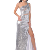One Shoulder Full Sequin Prom Dresses, Prom Queen Dress, Hot Pink, Silver from Sung Boutique Los Angeles