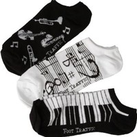 Women's Music Ankle Socks 3-Pack Size 4-10
