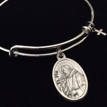 Patron Saint of Healing Saint Pio Rare Relic Medal Silver Expandable Bracelet Double Sided Catholic Adjustable Wire Bangle Stacking Trendy