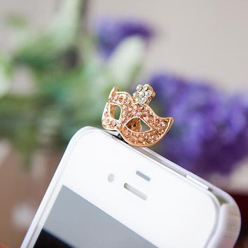 Rhinestone Mask Headphones Dust Plug Cell Phone Accessories For Iphone ,Samsung  And All Normal 3.5mm Earphone Jack Plug