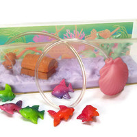 1992 LPS Littlest Pet Shop Fish Tank Aquarium by Kenner - Bobbing Fish in Treasure Chest Cove - Seahorse Coral Seashell Water Pump Vintage