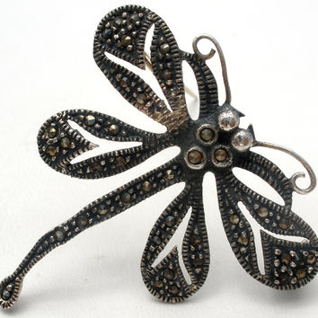 Sterling Silver Dragonfly with Marcasites Brooch Pin