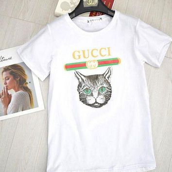 DCCKR2 GUCCI Stylish Women Casual Cat Print Short Sleeve T-Shirt Pullover Top Blouse Red