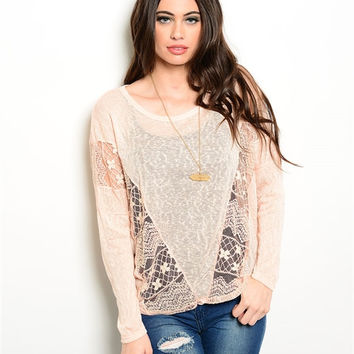 Sheer Peach Blush Lace Sweater