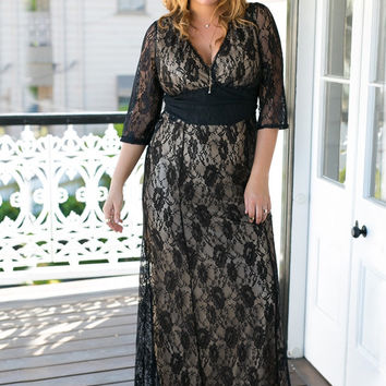 Black Lace V-Neck Floor-Length Dress