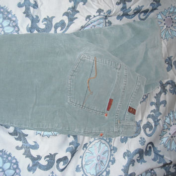 7 For All Mankind Corduroy Pants/Jeans In Sz 26/27.  They Are Between A Sage Green And Light Teal Color.