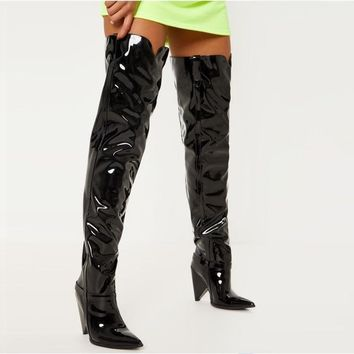 Amour Patent Leather Over The Knee Boots