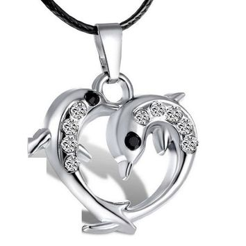 Silver Crystal Dolphin Heart Pendant Necklace