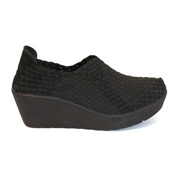 Steven Betsi - Black Elasticized Woven Fabric Wedge Shoe