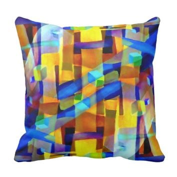 Abstract cubes purple throw pillow