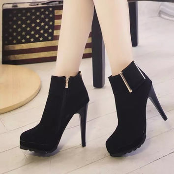 Frosted Buckle Stiletto Heel Ankle Boots