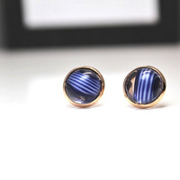 Tiny Stud Earrings / Navy Blue Rose Gold Studs / Dark Blue Artsy Earrings / Small Earrings Studs / Delicate Round Earrings / Gift for Her
