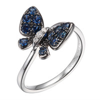 Blue Sapphire White Gold Butterfly Ring