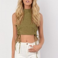 Harriet Khaki Faux Suede Lace Up Side Crop Top - Womens Fashion Tops | South Avenue