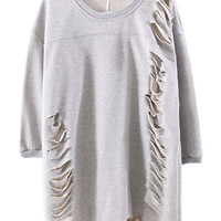 Gray Ripped Cut Out Sweatshirt