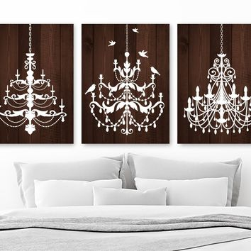 CHANDELIER Wall Art, Wood Canvas or Prints Wood Effect Wall Art, Rustic Bathroom Decor, Rustic Bedroom Decor Set of 3 Wood Picture