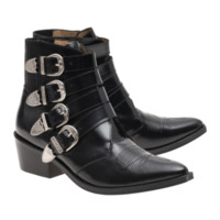 Toga Pulla Cowboy Polido Black Leather ankle boots with buckles - Shoes