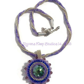 ON SALE! Nevermore! Twisted Herringbone Necklace, Removable Focal Pendant, Statement Necklace, Purple and Silver, Swarovski crystals