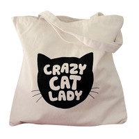 Crazy Cat Lady Natural Canvas Tote Bag