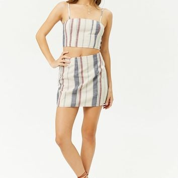 Striped A-Line Mini Skirt