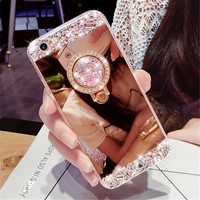 For LG G3 G4 G5 V10 V20 Luxury Diamond Rhinestone Mirror Soft TPU cover Crystal finger ring buckle Phone case handmade DIY