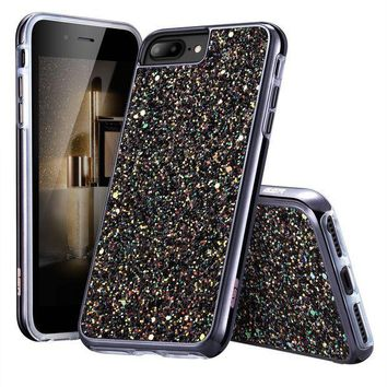 CREYV2S iPhone 7 Plus Case,iPhone 6 Plus Case,ESR Glitter Sparkle Dual Layer Shockproof Hard PC Back[Support Wireless Charging]+TPU Inner Shell for 5.5' iPhone 7 Plus/6 Plus(Black)