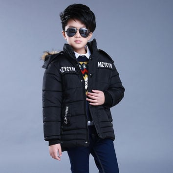 Quality Kids Boys Winter Cotton Jacket Coat Oblique Zipper Cotton Padded Jacket For Boys Thickness Warm Fur Hooded Long Parka