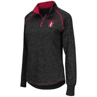 Women's Colosseum Black Stanford Cardinal Bikram 1/4 Zip Long Sleeve Jacket