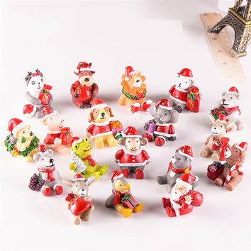 Christmas Santa Snowman Miniature Figurine Home Decoration Fairy Garden Cartoon Animals Statue Bonsai Ornaments Resin Craft Gift