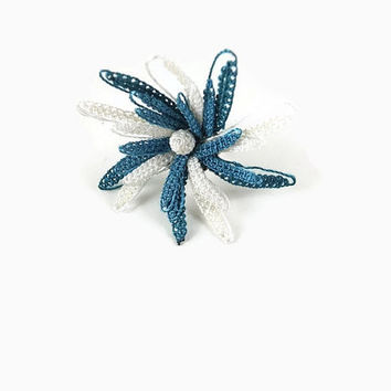 Blue and Off White Handmade Adjustable Crochet Ring -  Tatted Lace - Statement Knitted Jewelry