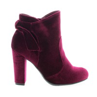 Hiltop48 Burgundy Velvet By Bamboo, Block Heel Ankle Booties W Bow