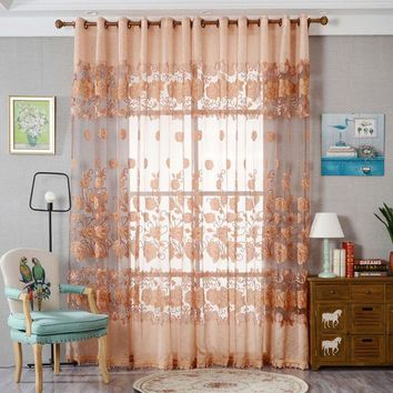1pc New  Curtain Burnout Peony Pattern Tulle Curtains Bedroom French Window Blinds Modern Semi-blackout Curtains
