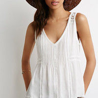 Pintucked Lace Panel Top