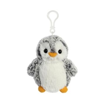 Pompom the Gray Clip-on Penguin Stuffed Animal by Aurora