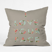 Allyson Johnson Floral I Love Your Face Throw Pillow