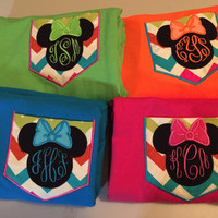 Minnie or Mickey Mouse applique w monogram pocket shirt tshirt gr8 for Disney trip made to order choose your size, color thread T-shirt Tee