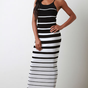 Striped Ribbed Knit Crisscross Back Maxi Dress | UrbanOG