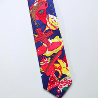 Vintage Next Exit Foodie Food Pattern Bright Color Polyester Necktie 1990