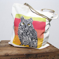 Cotton Tote Bag Horned Owl Zentangle Art by MayhemHere on Etsy