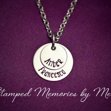 Hand Stamped Mommy Necklace - Mother's Jewelry - Two Layer Stainless Steel Pendant - Personalized Mom or Grandma Necklace - Kids Name