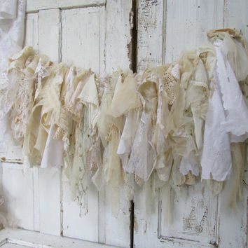 Tattered fabric white garland handmade romantic cream and vanilla tea stained  lace very full French Nordic wall decor handmade Anita Spero