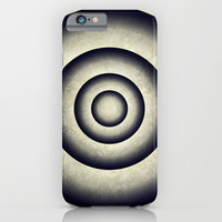 Abstract grunge gray blue 3D metal rings tunnel iPhone & iPod Case by Natalia Bykova