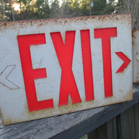 Vintage Wall Mount Exit Sign..Double Sided..Lighted..Metal Box Sign..Industrial..Factory Chic..Typography..Dorm Room..Man Cave Decor
