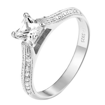 Princess Cut Solitaire Ring Cubic Zirconia 925 Sterling Silver Simulated Diamond