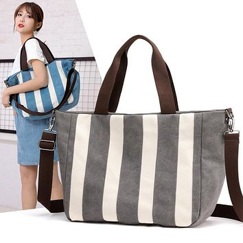 KVKY Striped Canvas Messenger Tote
