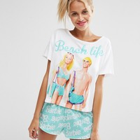 ASOS Barbie Beach Life Tee & Short Pyjama Set